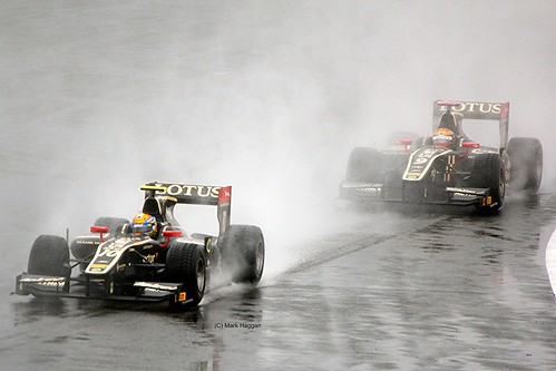 The GP2 Lotus cars of James Calado and Esteban Gutiérrez at Silverstone