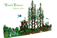 Faerie Forest (Siercon and Coral) Tags: trees castle coral forest lego magic fantasy redwood archery guild mystic faerie elves moc lothlorien avalonia forestmen siercon seanandsteph