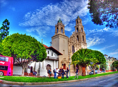 Mission Dolores Television/Film Crew HDR (Walker Dukes) Tags: sanfrancisco california camera pink blue trees red sky white black bus green art film grass clouds canon 3d cross action magenta tourists belltower highdefinition handheld microphone turrets wispy whispy belltowers photomatix abigfav highdefinitionresolution canons95