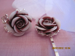 Deep Maroon Rose Ring and Bobby Pin Set (Belladesigns20) Tags: bobbypin adjustablering ringandbobbypinset deepmaroonrose