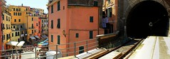 Waiting for our train in Vernazza to Riomaggiore (Bn) Tags: santa travel blue sea summer cactus italy sun holiday castle art heritage beach church water colors station fruit train swimming painting boats harbor fishing sand alley topf50 colorful mediterranean kayak village hiking walk liguria steps railway tourist lovers unesco trail vineyards kayaking olives cinqueterre charming opuntia vernazza viewpoint picturesque sunbathing margherita sunbather italianriviera ruined alleys nocars pamtree rockycoastline viadellamore 50faves carruggi 32c dantiochia