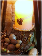 Easter Eggs and Nest in Lantern (dining delight) Tags: bunny birdcage fireplace ivy lantern candlesticks minilights heisrisen boxwoodwreath blackroundmirror |springmantel