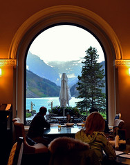 Quiet moments (~ Mariana ~) Tags: trip travel blue trees summer vacation sky lake mountains green water colors rain clouds landscape outside restaurant nikon view memories ab scenary inside rockymountains tearoom chateau holliday banfnationalpark