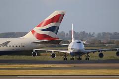 BA Pair. (aitch tee) Tags: aircraft maintenance britishairways airliner walesuk cardiffairport b747400 bamc maesawyrcaerdydd cwlegff