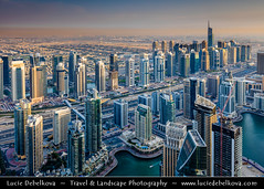 United Arab Emirates - UAE - Dubai - Dubai Marina at the end of the day and its last rays of light (© Lucie Debelkova / www.luciedebelkova.com) Tags: world city travel light color building beach horizontal skyline architecture modern night marina outdoors photography evening dubai exterior view image dusk contemporary united uae scenic middleeast large landmark aerial structure illuminated east emirates international arab arabia vista innovation middle eastern luxury development unitedarabemirates built dubaimarina gcc locations cityskyline prosperity viewfromabove thegulf destinations magiclight horizontals arabianpeninsula luciedebelkova wwwluciedebelkovacom