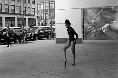 En Pointe On Sixth (slightheadache) Tags: nyc newyorkcity blackandwhite bw film pentax tmax pentaxk1000 filmcamera 2016 streetballet