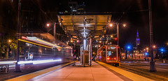 late night platform lll (pbo31) Tags: sanfrancisco california city urban orange color station night train dark spring nikon traffic platform may motionblur muni embarcadero ferrybuilding southbeach 2016 lightstream boury pbo31 d810