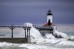 Lake Michigan Wind and Waves (Tony Lau Photographic Art) Tags: city sky lake art photography lighthouses waves michigan great lakes indiana photographic tony lau 2016 46360