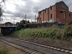 Untitled (natasajesic123) Tags: bridge building green station factory tracks samsung melbourne trainstation ascotvale whenyouforgettobringyourcamera
