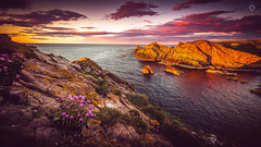 Rainbow Landscape (Augmented Reality Images (Getty Contributor)) Tags: flowers sunset nature water sunshine clouds photoshop canon landscape scotland rocks cliffs adobe coastline editing lightroom morayshire focusstack portknockie leefilters