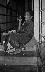 On the Stairs (Nitesh-Bhatia) Tags: street blackandwhite woman india blackwhite sitting bangalore streetphotography sigma indians bnw merrill foveon malleshwaram dp2 dp2m