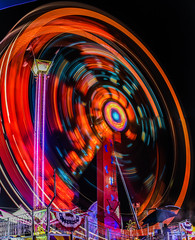two red hammers (pbo31) Tags: california red summer panorama motion black color june hammer night dark nikon ride spin large fair panoramic spinning butler bayarea target rides eastbay midway stitched pleasanton amusements grounds alamedacounty footloose 2016 lightstream boury pbo31 d810