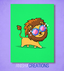 Fabulous Lion (Anisha_Creations) Tags: summer fab silly cute sunglasses fashion animal glasses glamour funny colorful lol character sunday lion doodle kawaii glam fabulous sparks diva cartoons