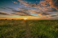Sunset (Crisp-13) Tags: sunset red sky cloud sun grass set angle path wide fields hdr
