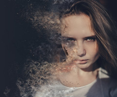 Distorted (Krists Luhaers) Tags: portrait distortion colors face studio photography model sand cracked crackedface