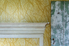 The Yellow Room, with Mantle (Geoffrey Coelho Photography) Tags: door old wallpaper house detail abandoned yellow architecture farmhouse rural paint antique farm interior room massachusetts architectural berkshires mantle berkshirecounty sandisfield spectaclepondfarm