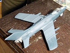 1:72 MiG-SK, '14 Yellow' of the 100th Shipborne Fighter Aviation Regiment, Soviet Naval Aviation ( - ; Aviacija vojenno-morskogo flota), Kaspiysk AB (Dagestan region), 1970 (Whif/Kitbashing) - WiP (dizzyfugu) Tags: blue red cold star war fighter conversion aircraft aviation navy soviet farmer naval 19 mig 172 fictional gurevich kir mikoyan regiment whatif kitbash modellbau  flota whif   aviacija shipborne kaspiysk dizzyfugu vojennomorskogo