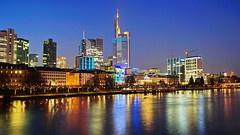 Taunusturm & Commerzbank (stephan.hickisch) Tags: city blue light urban building water night river germany evening frankfurt main financial commerzbank metropole mainkai taunusturm