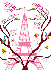 eiffel tower in spring (subjectivexperience) Tags: city travel flowers vacation sky urban holiday plant paris france flower building tree tower art tourism monument nature floral silhouette metal architecture illustration season french landscape design spring construction flora iron europe branch cityscape tour view place symbol blossom steel famous capital seasonal sightseeing decoration scenic culture landmark eiffel icon structure fresh historic retro destination romantic tall parisian attraction