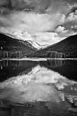 Monarch Lake 4 (brucegcco) Tags: bw reflection spring colorado monarchlake sunoptics28mmf25