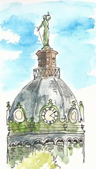 Broome County Courthouse - the scales of justice (artbybernadette) Tags: balance binghamton edim inkandwatercolor broomecountycourthouse
