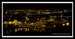 Night time in Derry (donegalblaze) Tags: city bridge wool church night river army lights wire peace steel bridges churches historic walls sparks barracks derry siege ulster walled foyle cityside doire maidencity londonder