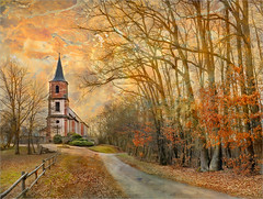 The bell tower (Jean-Michel Priaux) Tags: autumn france tree tower texture church nature architecture forest photoshop automne painting season landscape bell religion alsace paysage hdr patrimoine impressionisme patrimony thanvill impressioniste priaux saintpierrebois stpierrebois mygearandme blise ringexcellence flickrstruereflection1