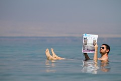 Newpapers Are Dead (Universal Stopping Point) Tags: sunglasses newspaper floating jordan deadsea aviators bouyant bathtimes