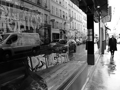 Parallel worlds (vieweronline) Tags: blackandwhite bw man paris france monochrome contrast reflections shadows noiretblanc candid streetshots streetphotography nb shopwindow streetscenes g12 candidshots streetreflection photosderue canong12 reflectioninwindowshop