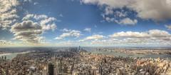 Panorama from the 102nd floor observation deck of the Empire State Building HDR (Dave DiCello) Tags: newyorkcity panorama newyork photoshop nikon manhattan tripod newyorkskyline empirestatebuilding nikkor hdr highdynamicrange nycskyline cs4 7worldtradecenter photomatix tonemapped colorefex cs5 newyorkcitypanorama d700 davedicello hdrexposed observationdeckattheempirestatebuilding 102ndfloorattheempirestatebuilding