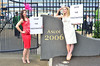 Model High Street retailer Debenhams protest outside Ascot Racecourse to 'Save The Fascinator' Ascot, England