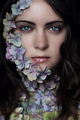 The Nature of This Flower Is to Bloom (Lou Bert) Tags: flowers blue portrait woman selfportrait flower art girl face self petals purple petal hydrangea laurenbatesphotography