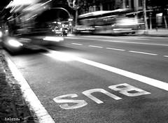Bus (Helena Vera) Tags: barcelona street blackandwhite bus blancoynegro june night noche calle exposure olympus junio ep1 exposición