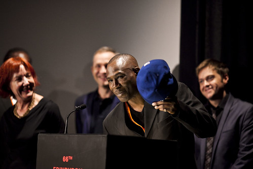 Shabba and the rest of the One Mile Away cast receive the Michael Powell Award at the 2012 EIFF Awards ceremony at the Filmhouse