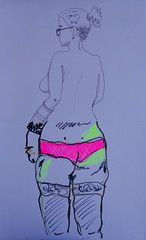 Oficina de Modelo-Exquis, UnB, 30 de junho 2012, n. 06 (Dona Mincia) Tags: distortion art creativity arte drawing proportion desenho criatividade standingwoman colaborativo mulheremp modeloexquis