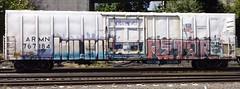 Munk Retar (GraffStoleMyLife) Tags: railroad art metal train graffiti pacific graf union spraypaint bnsf hof freights munk autorack reefers retar