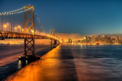 tonight, you're on my mind (JonBauer) Tags: sanfrancisco california city longexposure sunset fog skyline night nikon treasureisland traffic baybridge yerbabuena hdr highdynamicrange photomatixpro d700 2470mmf28g