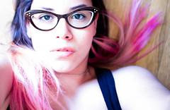 pinkhair cateyeglasses pinkdye