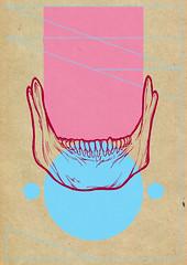 man (Petit Mal - Phil Cooper) Tags: portrait woman man colour illustration pen ink hair skull kid bright phil jaw cooper bones bold petitmal