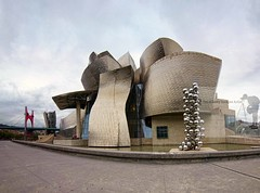 The Guggenheim Museum in Bilbao, Spain (Sebastian Condrea) Tags: city travel blue summer sky urban sculpture holiday abstract detail reflection building art tourism metal museum architecture modern facade cutout frank outside town spain stainlesssteel day cityscape outdoor metallic contemporary unique modernart steel indian scenic shapes sunny landmark gehry exhibition bilbao dome guggenheim curve titanium kapoor frankgehry anish basque basquecountry worldtravel nervion biscay ballls worldlocations museoguggenheimdebilbao