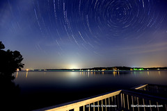 Stutter Step [C_049689-707] (Steven Christenson) Tags: longexposure lake night circle stars dock spin northcarolina stack deck rotation railing gaston bigdipper littleton polaris startrail lakegaston imagestacker stevenchristenson starcircleacademycom
