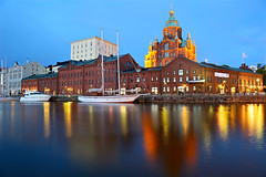 Uspenski Lights at Blue Hour (AJ Brustein) Tags: ocean blue sea reflection building church water up ferry night canon finland river lights evening bay boat helsinki long exposure ship mark iii front hour 5d lit catherdral scandinavia russian uspenski 5dm3