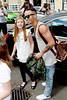 Aston Merrygold and a fan Celebrities leaving their hotel after attending the wedding of Rochelle Wiseman and Marvin Humes which took place on Friday (July 27) at Blenheim Palace England -