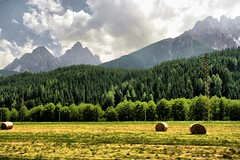 Dolomiti 's Hay Bales (! .  Angela Lobefaro . !) Tags: trip travel italien trees light summer vacation sky italy sun mountain holiday mountains alps tree green nature berg field grass car clouds rural montagne landscape countryside moving movement bravo italia nuvole day driving cloudy onthego country natur himmel unesco ciel cielo nubes hay bergen alpen bales nuages bale alpi italie tyrol paesaggio dolomiti allrightsreserved sdtirol haybales altoadige weltkulturerbe balle fieno dolomiten rotoballe mooving sudtirolo sancandido sudtyrol hochpustertal angiereal weltnaturerbe carshooting altavalpusteria angelamlobefaro riproduzioneriservata