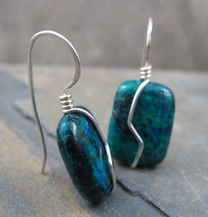 Azurite Malachite Earrings (AshleighAnnette) Tags: blue green big wire wrapped drop sterling earrings dangle bold hooks solid malachite azurite