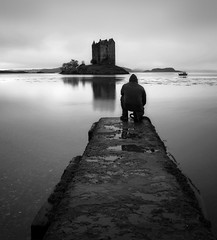 CASTLE STALKER(B/W) (kenny barker) Tags: castle self landscape lumix scotland stalkercastle allxpressus panasoniclumixgf1 welcomeuk kennybarker
