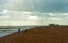 The Catch (Kenaz.24) Tags: uk light sea england seascape beach beautiful clouds kent seaside exposure moody dramatic stunning dungeness sunrays dreamscape seafishing cs5 kenaz24