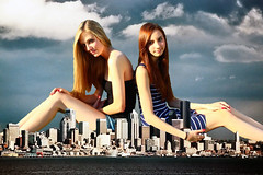 Two Goddesses wait to be worshipped (misterwerder) Tags: city two hot sexy feet collage sex sisters skyscraper lesbian amazon kissing legs boots sister destruction goddess young picture teen taller porn multiple tall titanic dominance bigger slaves slave mega giantess gts dominant giga