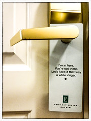 Hotel Snark (ingridtaylar) Tags: door handle hotel tag donotdisturb embassysuites