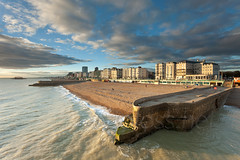 This is Brighton (Slawek Staszczuk) Tags: uk autumn sea england urban seascape sunshine clouds landscape sussex pier seaside brighton waves cityscape cloudy unitedkingdom britain sunny wideangle westpier seafront groyne eastsussex groynes